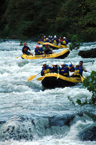 Cheoah River rafting group of rafts