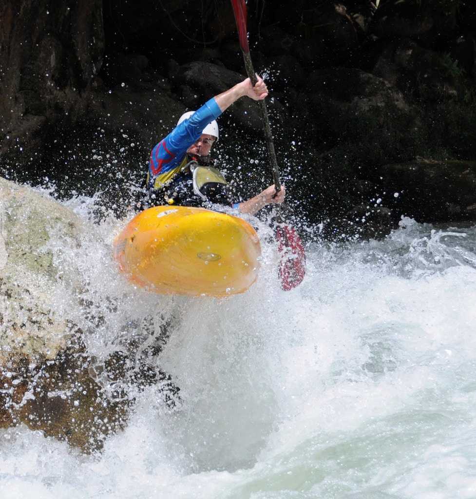 Exciting action shot of some of the best whitewater in Ecuador