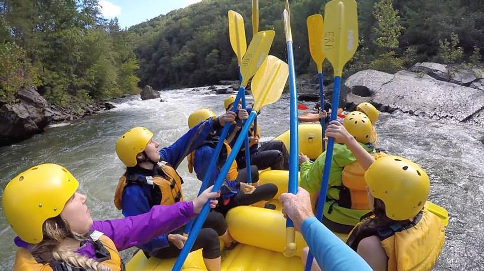 Team salute below the Diamond Splitter on the Ocoee